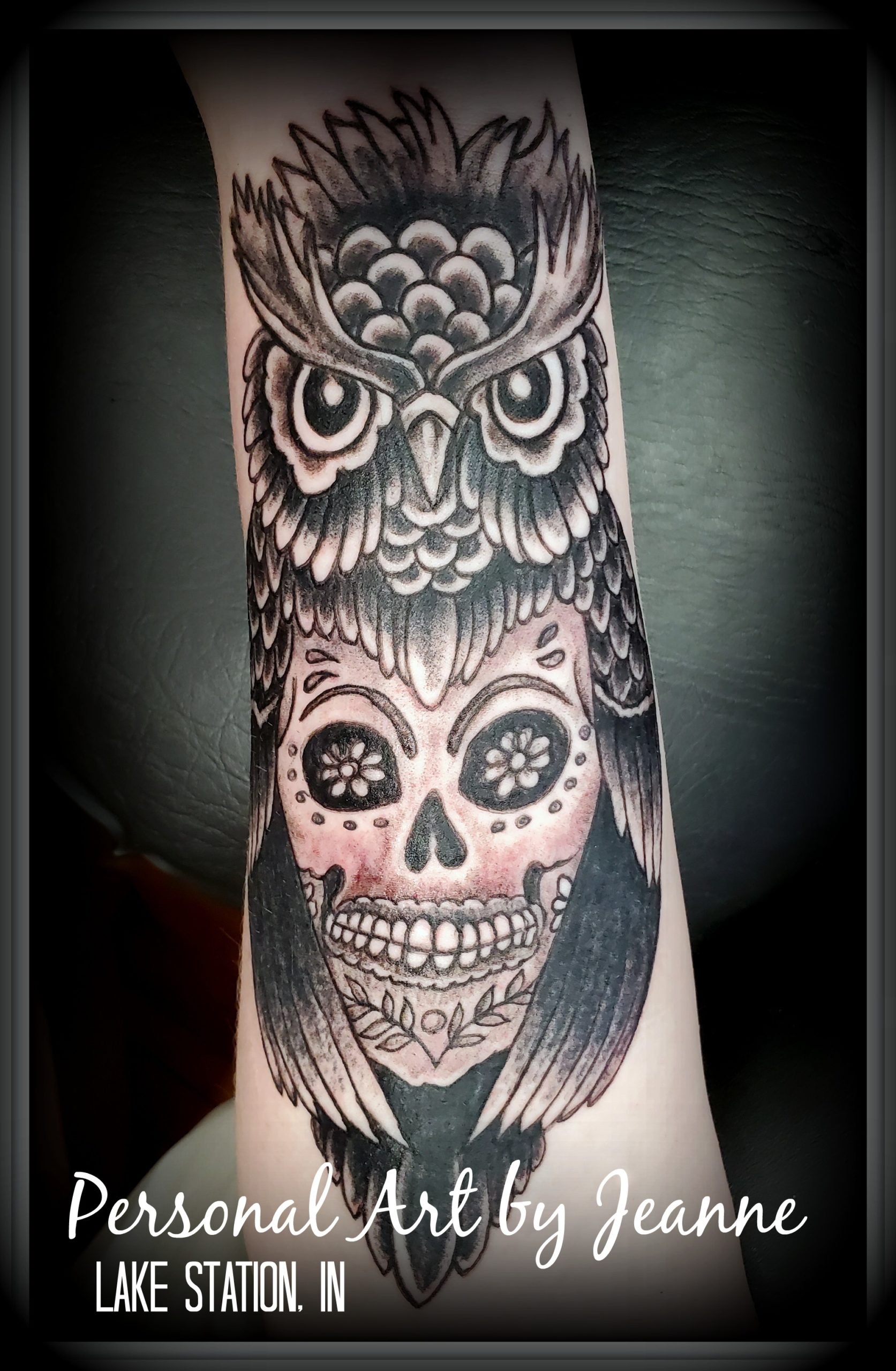 tattoo of an owl with sugar skull