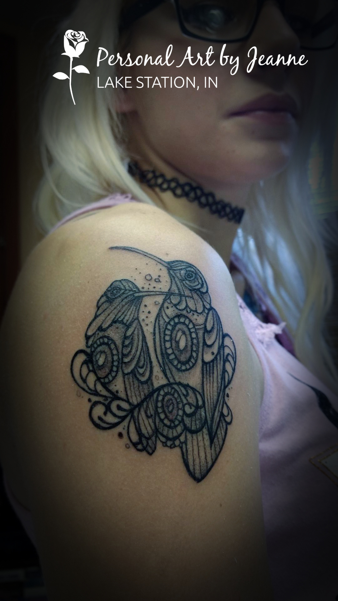 black and gray, henna-styled birds - tattooed by Jeanne at PersonalA